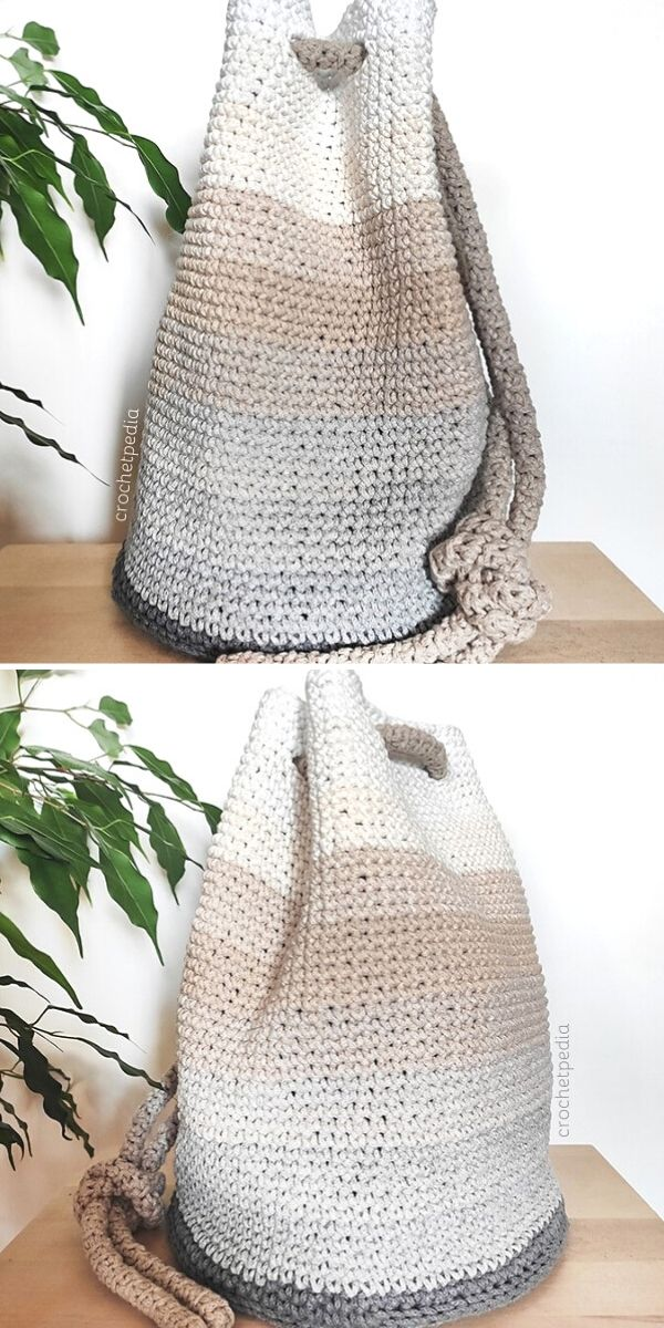 Easy Drawstring Bag Free Crochet Pattern