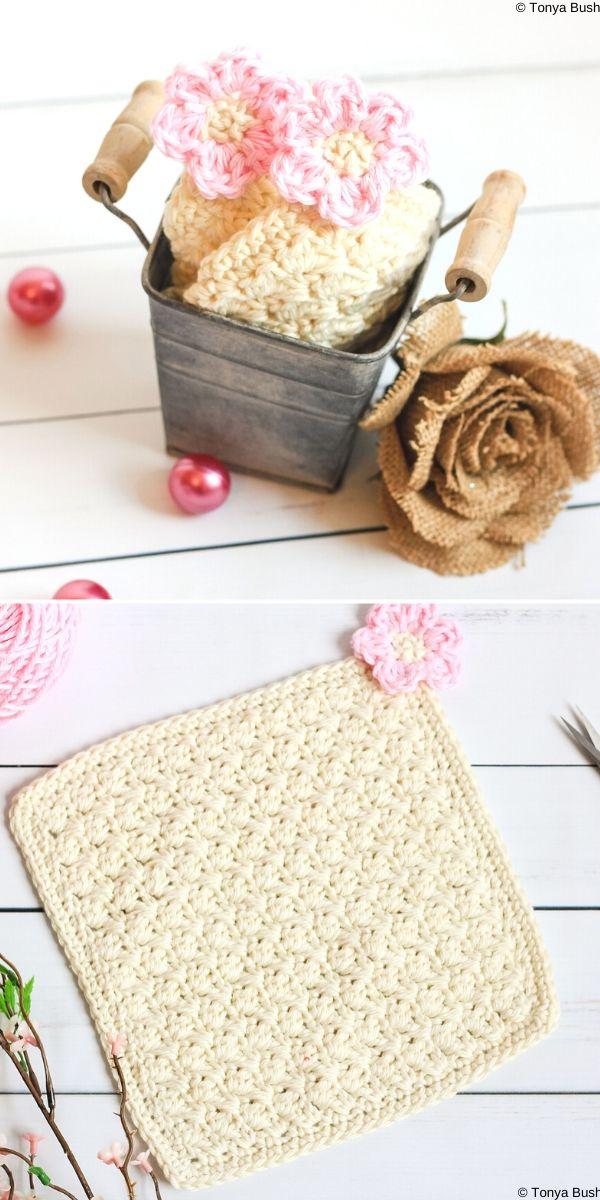 Flower Blossom Spa Washcloth Free Crochet Pattern