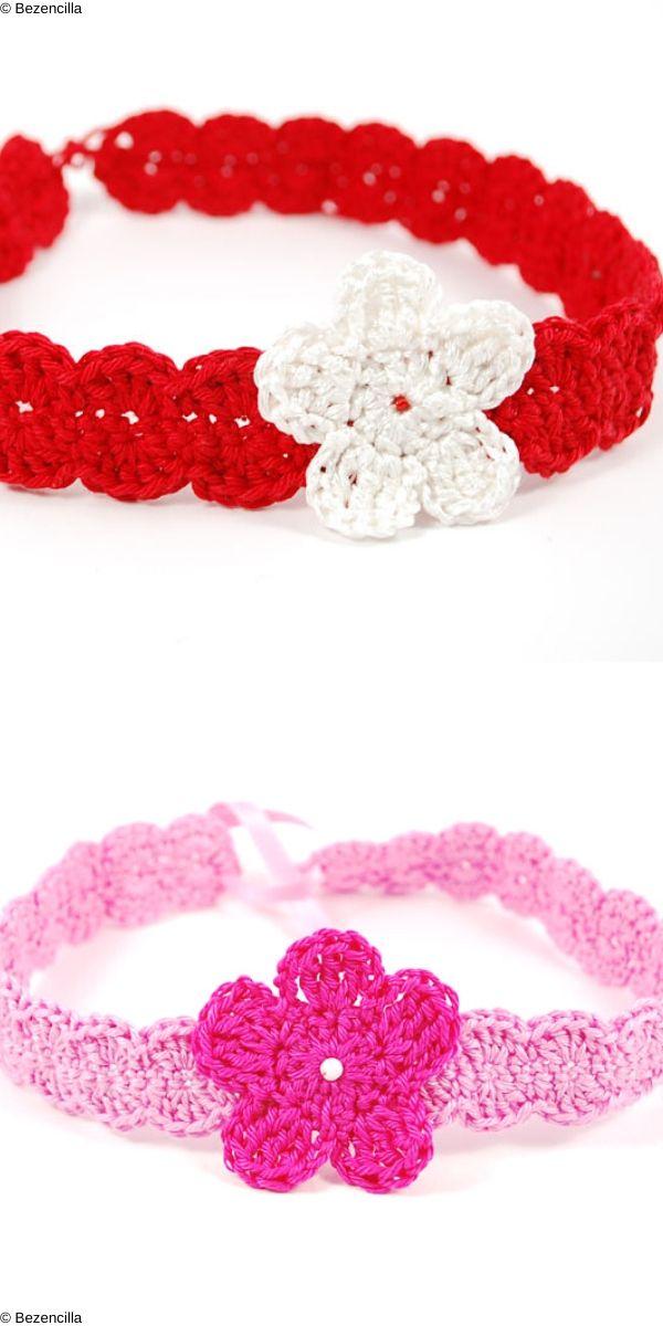 Flower and Shells Headband Free Crochet Pattern