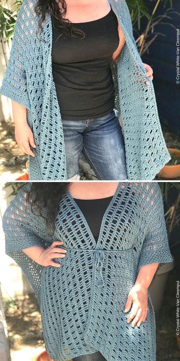 Free Spirit Ruana:Kimono Free Crochet Pattern