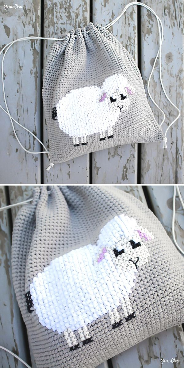 Lamb Cinched Backpack Free Crochet Pattern