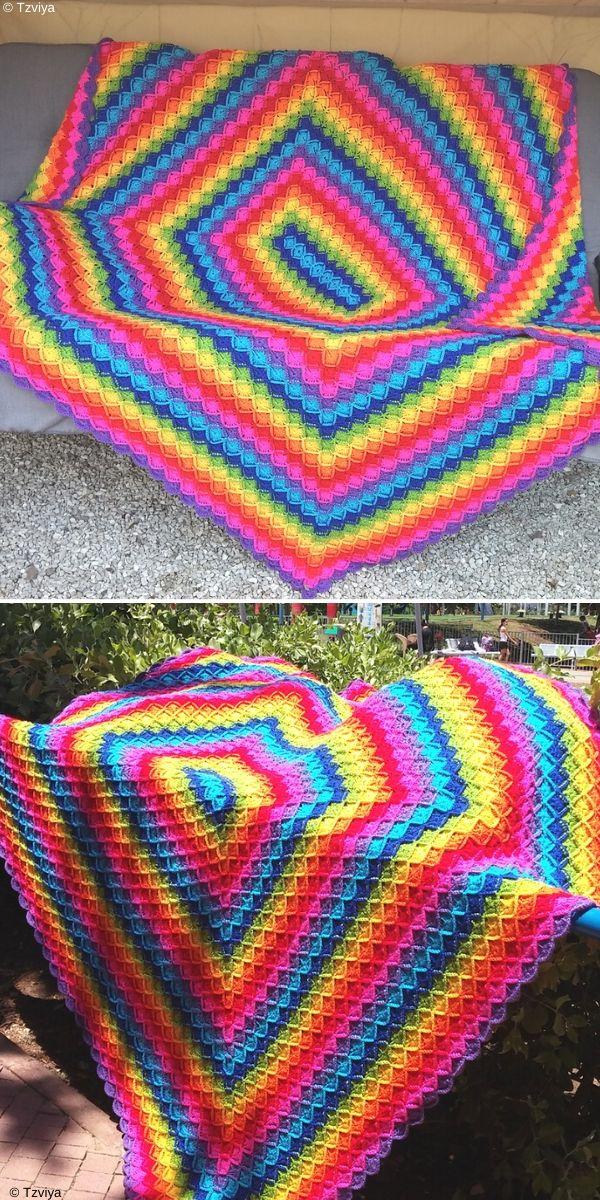 Oblong Wool-Eater Blanket Free Crochet Pattern