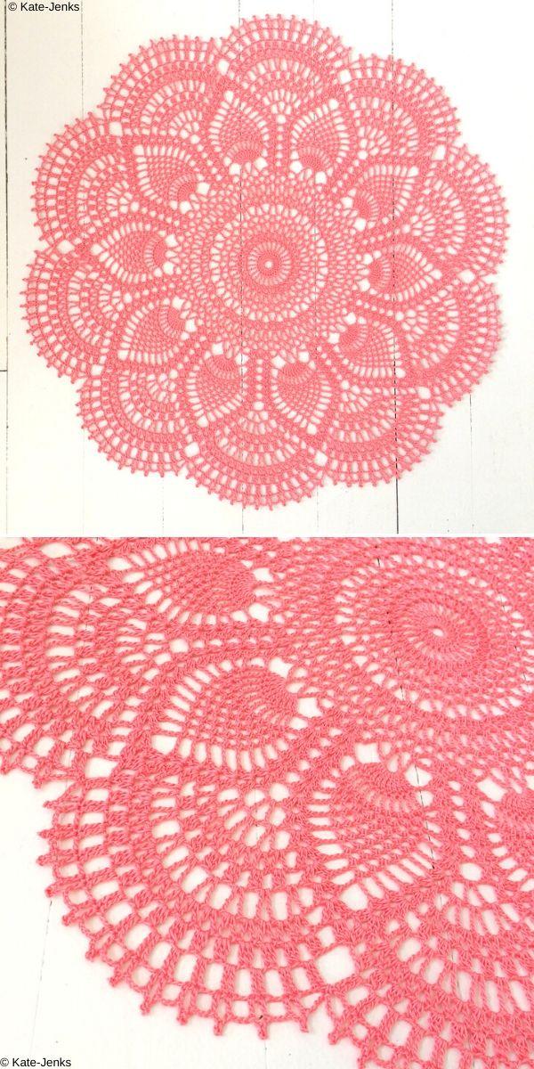 Pink Pineapple Doily Free Crochet Pattern