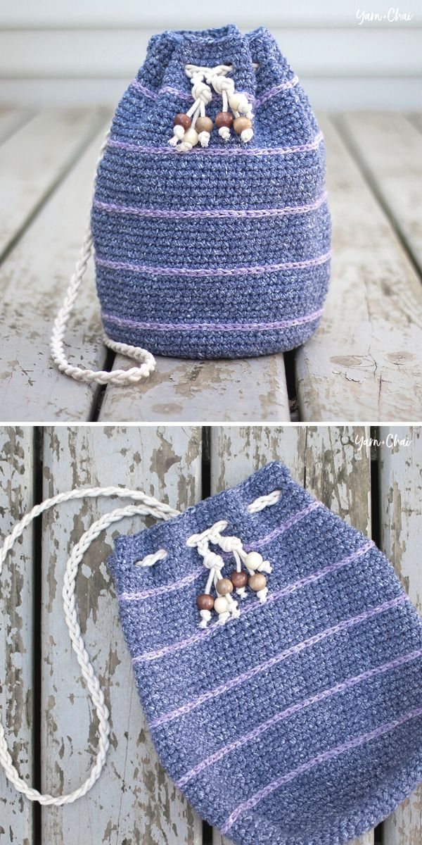 Simple Drawstring Bag Free Crochet Pattern