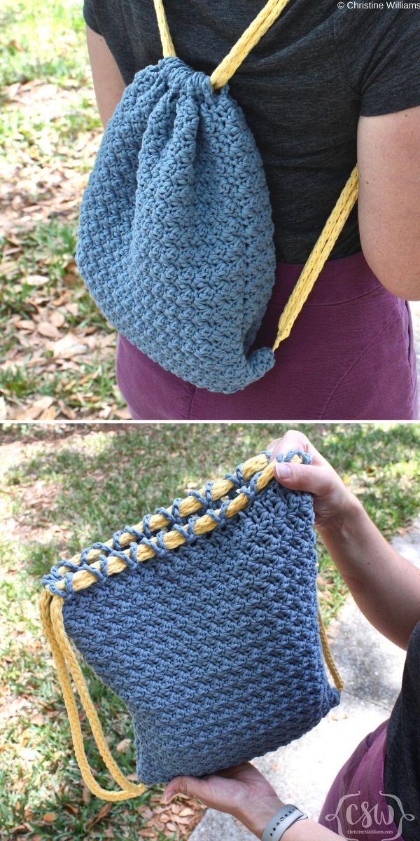 Summer Drawstring Backpack Free Crochet Pattern