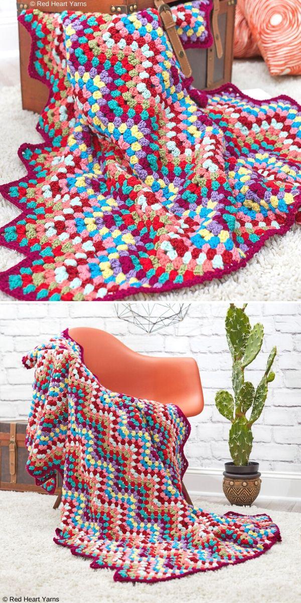 Throw-back Granny Chevron Free Crochet Pattern