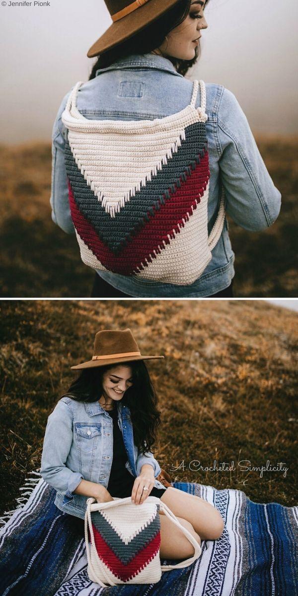 Wanderlust Chevron Backpack Free Crochet Pattern