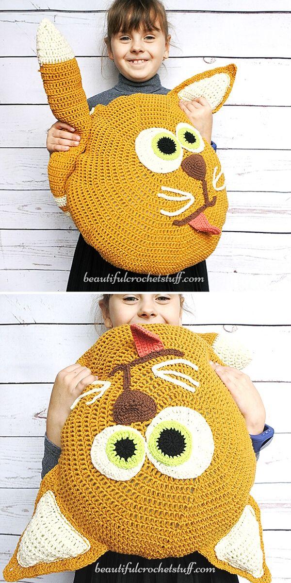 Cat Crochet Pillow