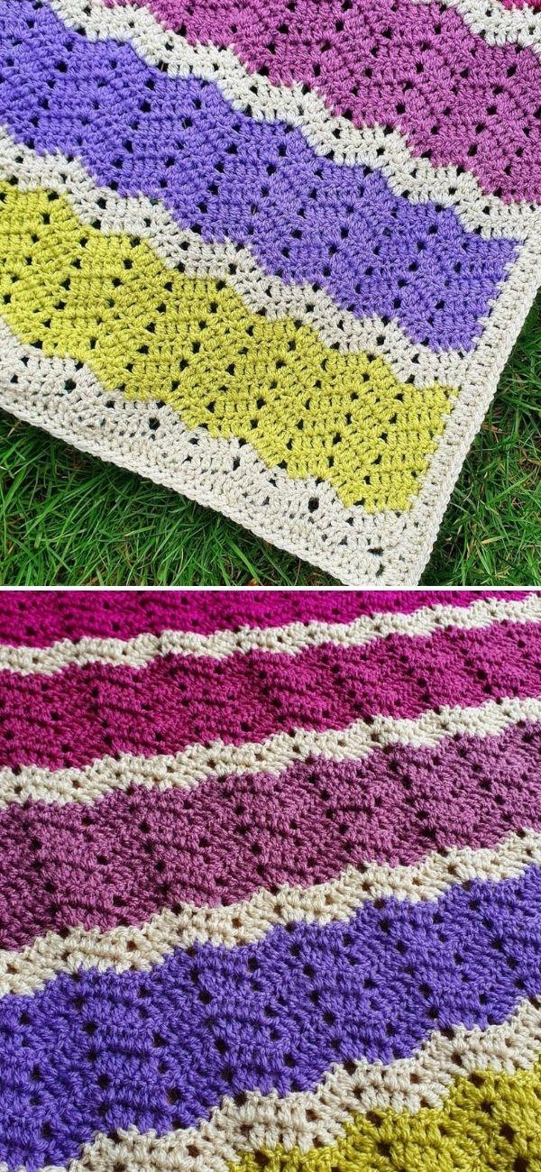 Easy Peephole Chevron Crochet Blanket