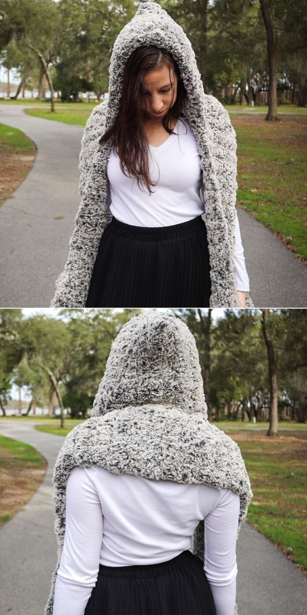 Faux Fur Hooded Scarf with Pockets