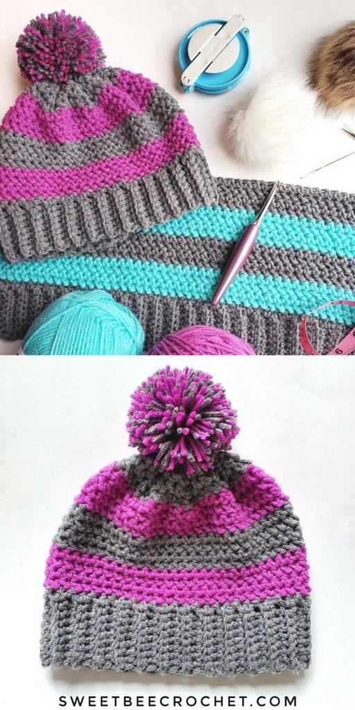 Striped Herringbone Hat Crochet Beanie