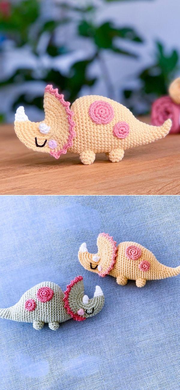 Crochet triceratops dinosaur