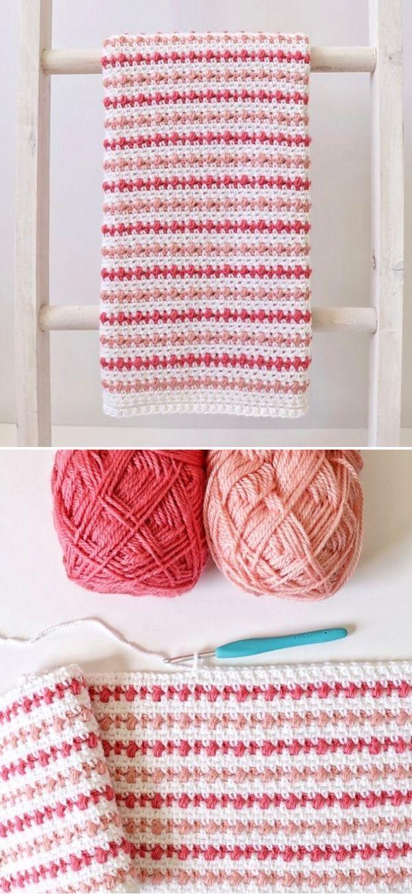 Puff Stripes Baby Blanket