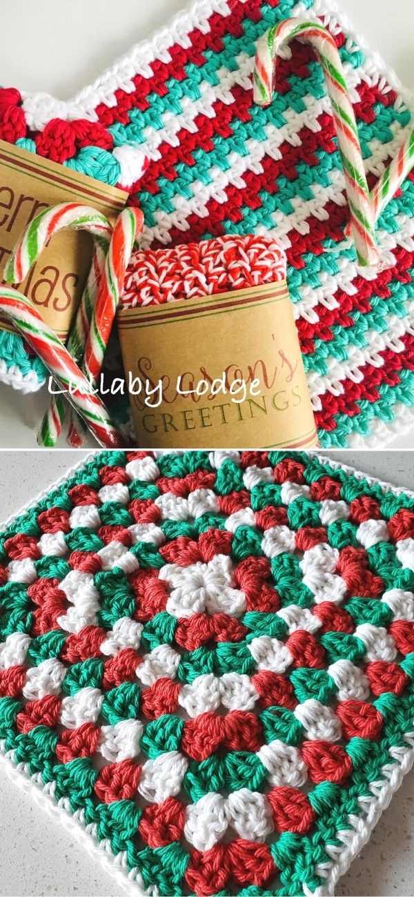 Candy Cane Dishcloth