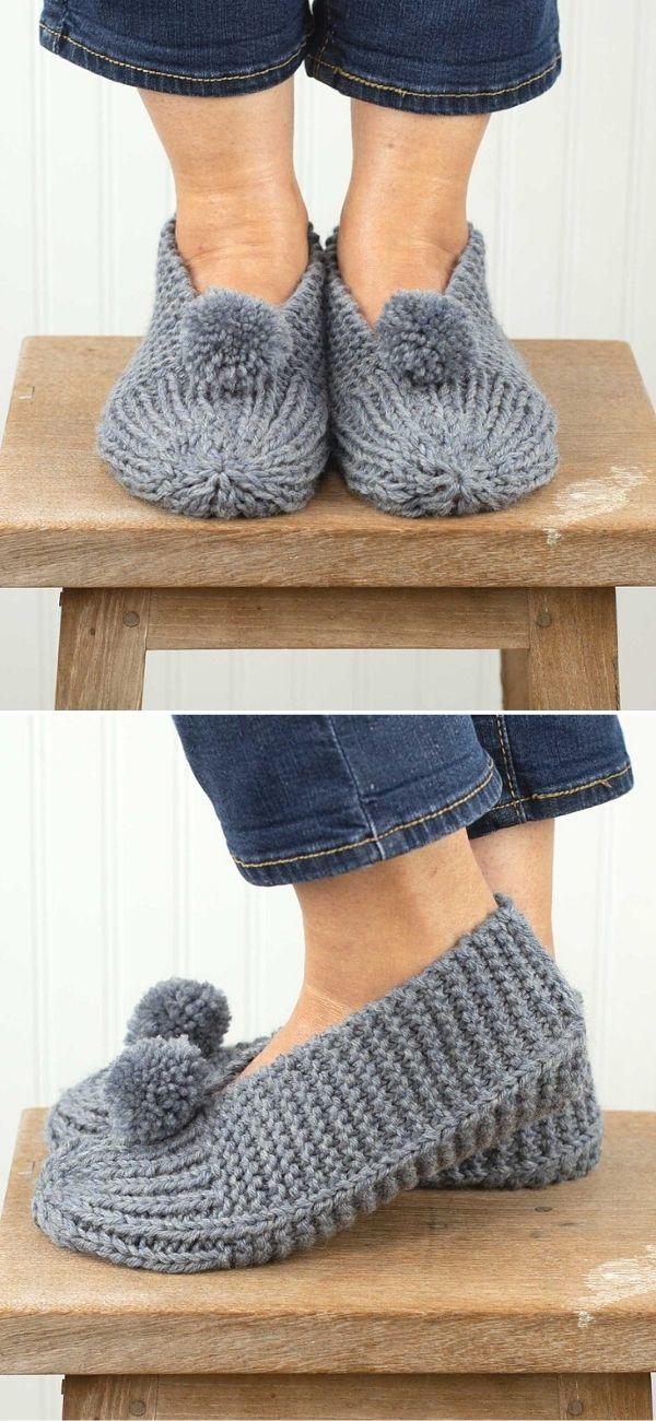 Family Slippers Using Berroco Ultra Wool