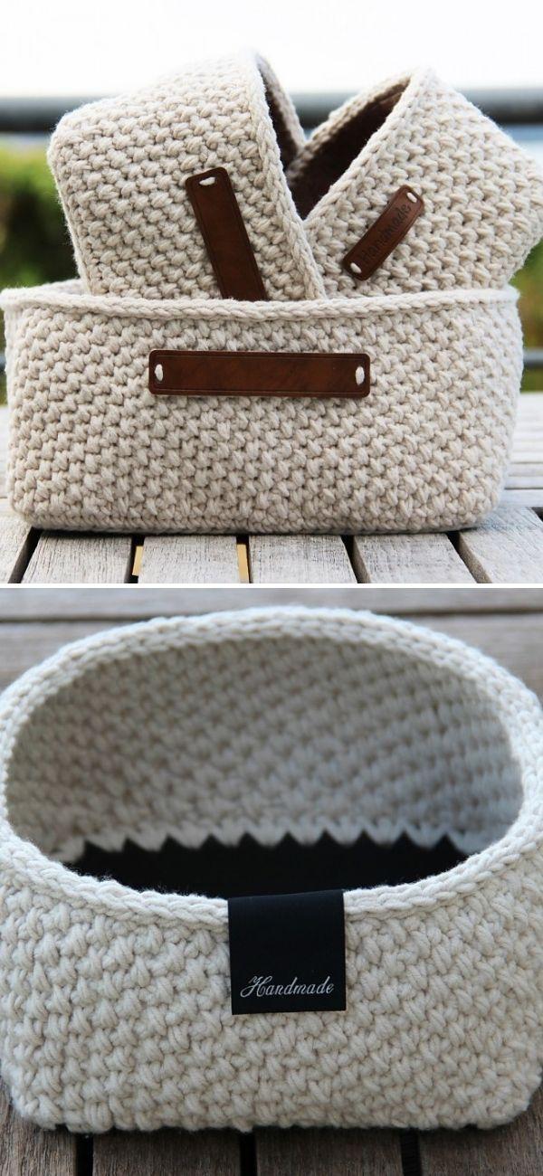 Moss Stitch Basket - Square