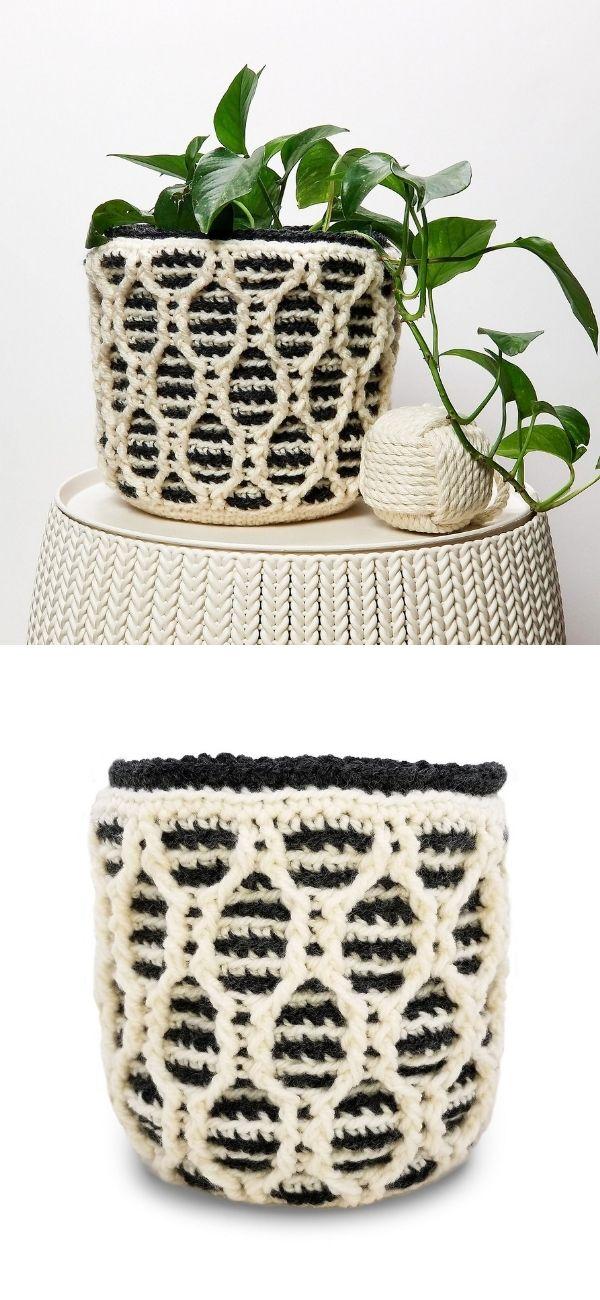 Striped Hourglass Basket