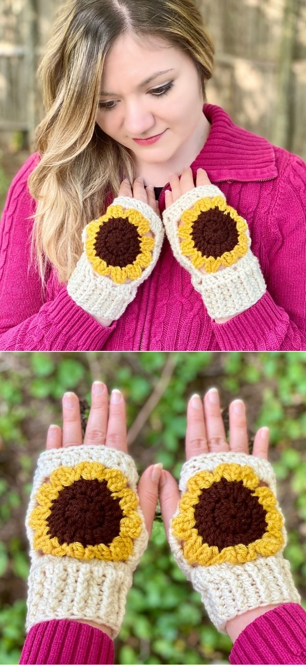 Sunflower Fingerless Gloves