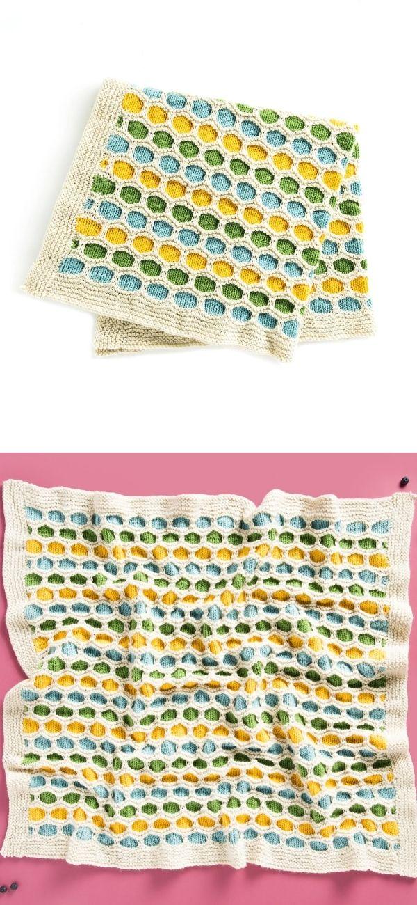 Caron Honeycomb Stripes Knit Baby Blanket