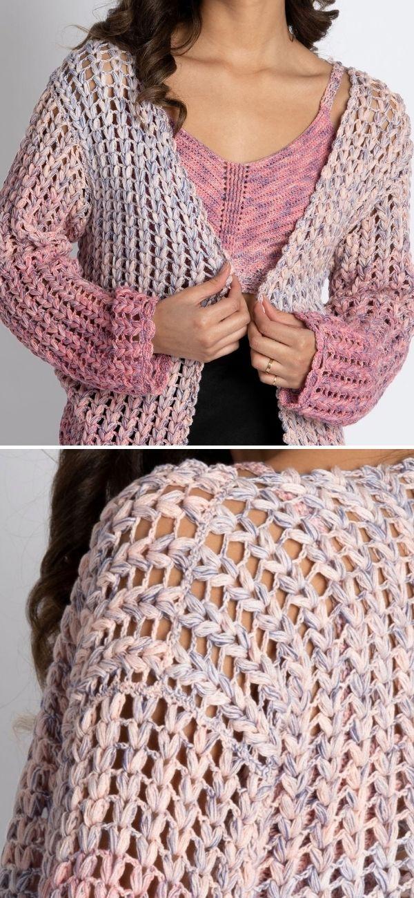 Eyelet Stitch Crochet Cardigan