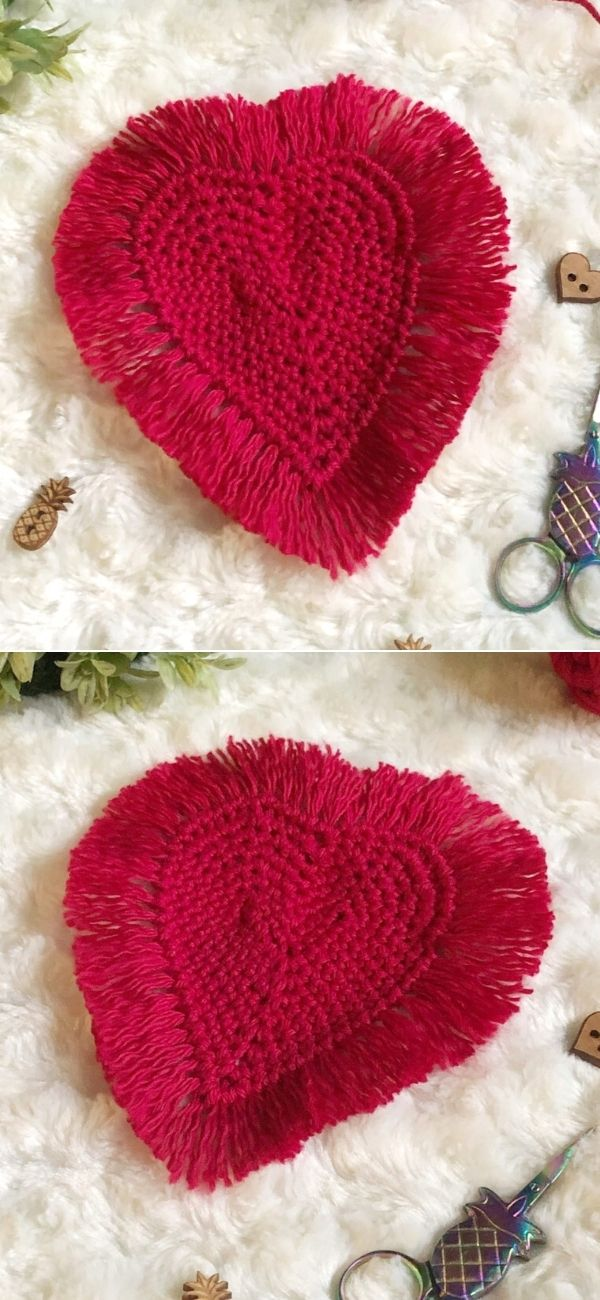 Boho Heart Crochet Coasters