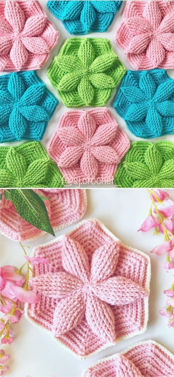 Crochet Hexagon 3D Leaf Motif