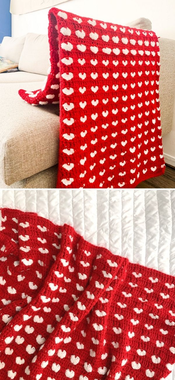 Puffy Hearts Blanket