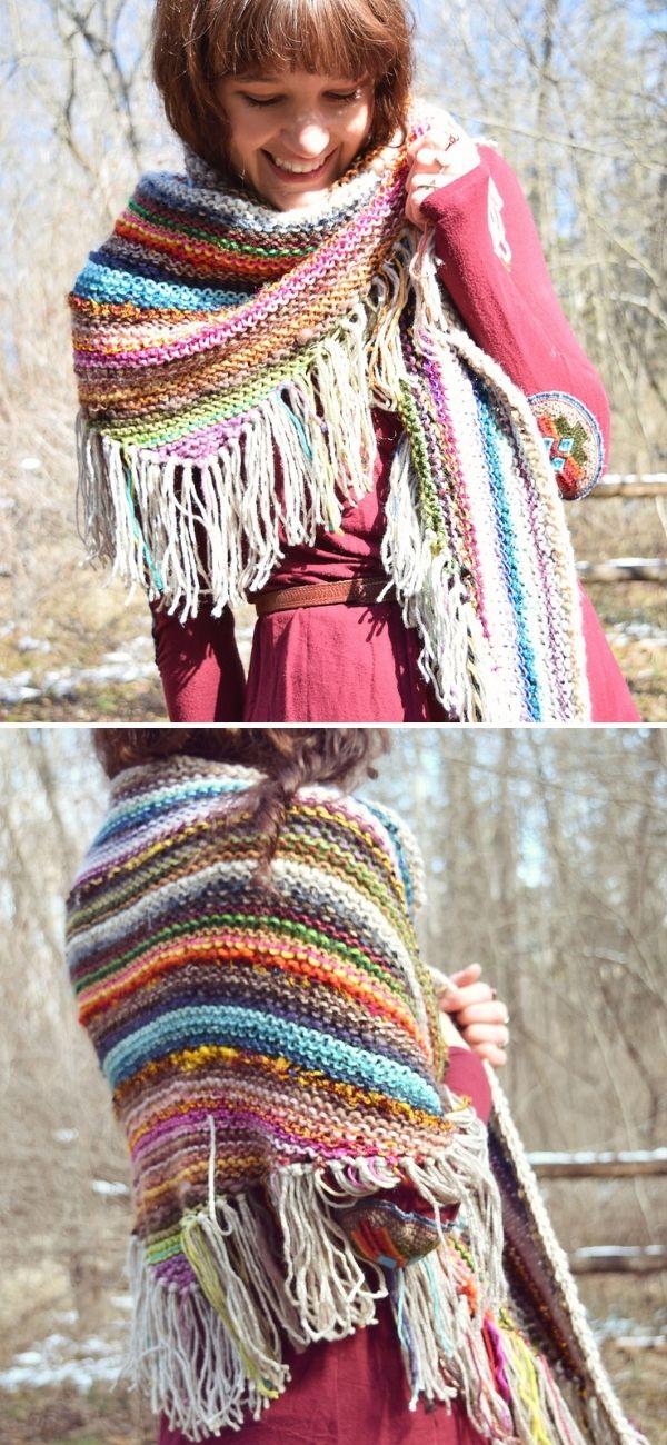 Scrappy Knit Shawl