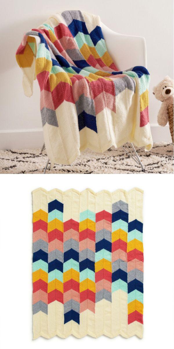 Chevron Panel Baby Blanket