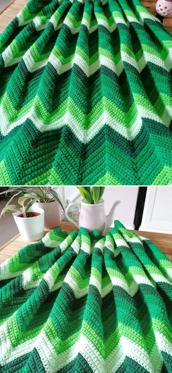 Single Crochet Chevron Blanket
