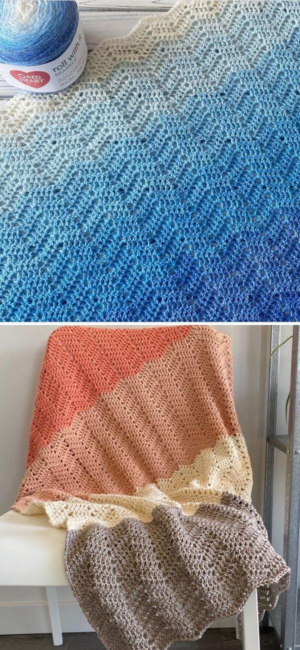 blue ripple blanket