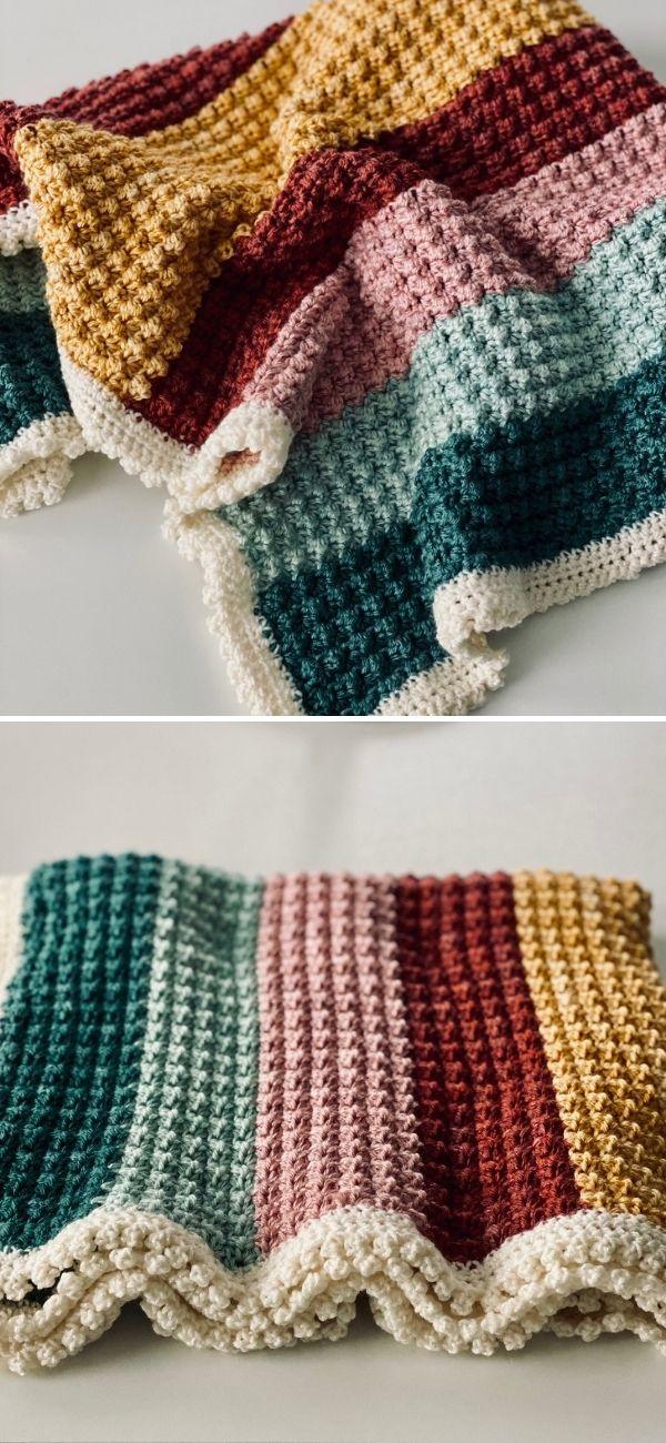 Modified Sedge Stitch Baby Blanket
