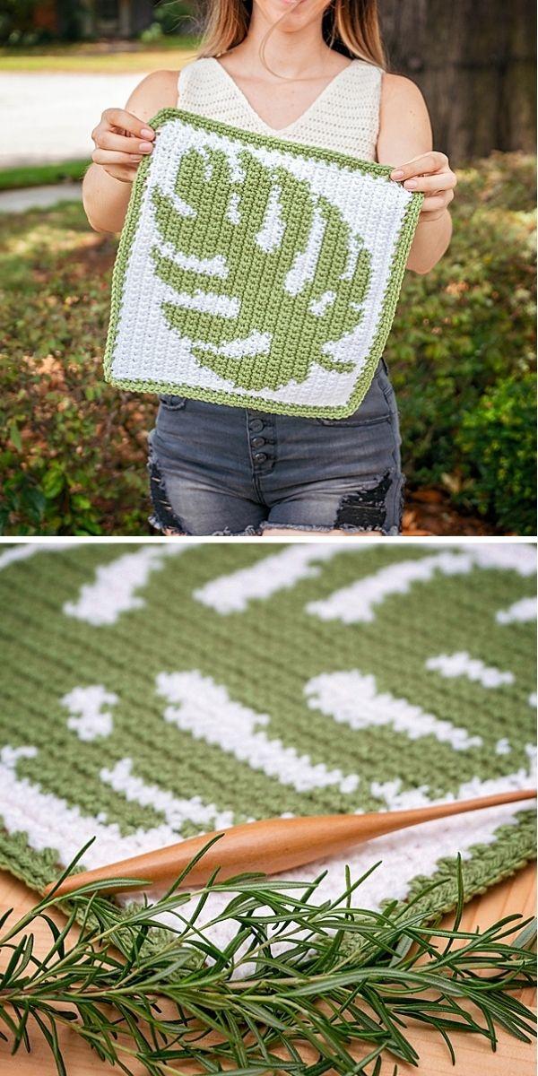 Monstera Crochet Square