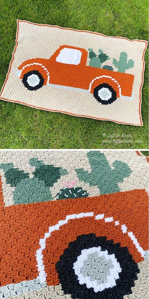 Vintage Cactus Truck Blanket