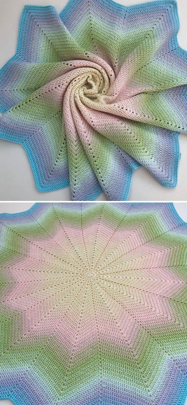 Classic Round Ripple Crochet Baby Blanket