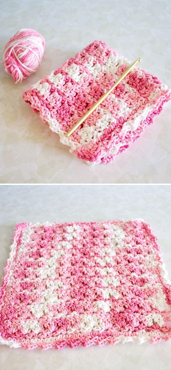 Pink Rose Dishcloth