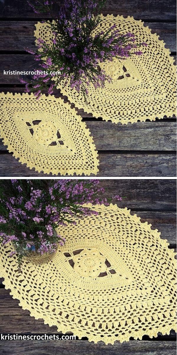 Oval Flower Doily Table Runner